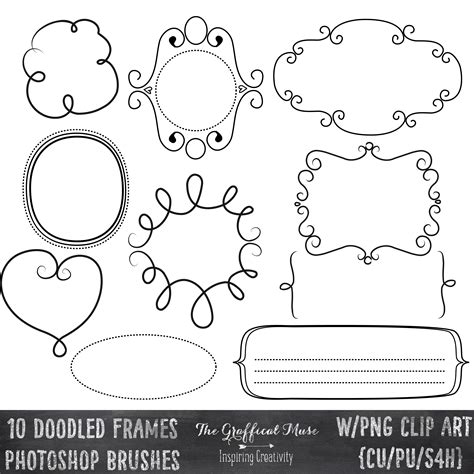 free doodle line brushes free photoshop brushes with digital png clip doodled