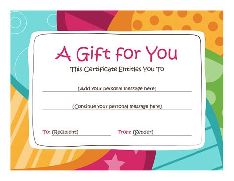 gift card for my fiance template birthday gift certificate template free printables