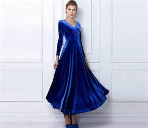 royal blue velvet dress long party formal evening maxi by