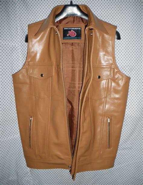 Handmade Vest - leather vest style mlvl15 for sale custom made