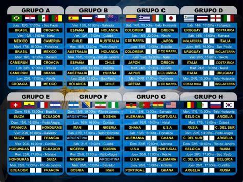 G Calendar 2014 Copa Mundo 2014 Grupos F Y G Calendario Lunes 16 De