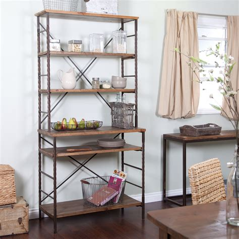 metal and wood bakers rack durable new fir wood and metal bakers rack with storage and display space ebay
