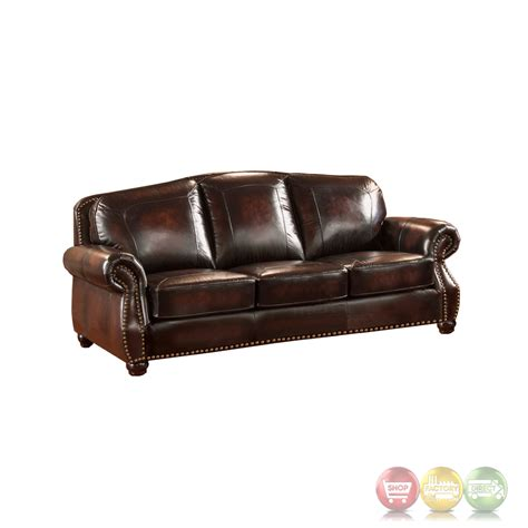 set with ottoman hyde antique burgundy top grain leather 4pc sofa set