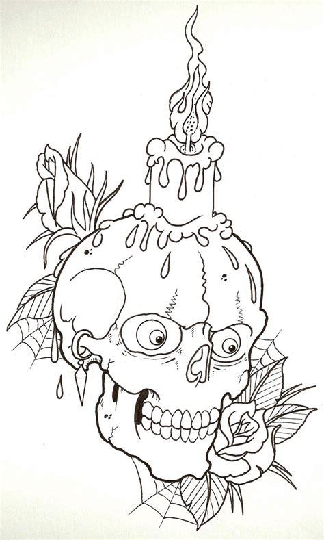 skull tattoo outline designs candle skull outline by vikingtattoo on deviantart