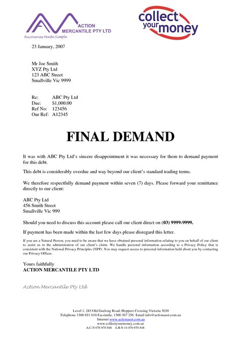best photos of final demand letter sle final payment
