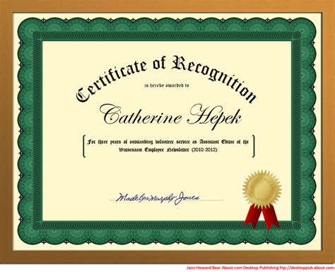 design a certificate in word you can create a certificate of recognition in word for