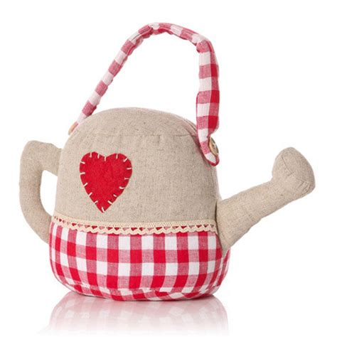 shabby chic fabric applique heart watering can door stop