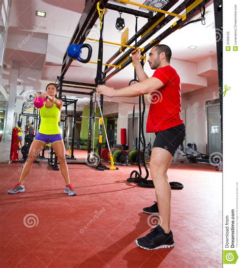 crossfit kettlebell swing crossfit fitness kettlebells swing exercise workout at gym
