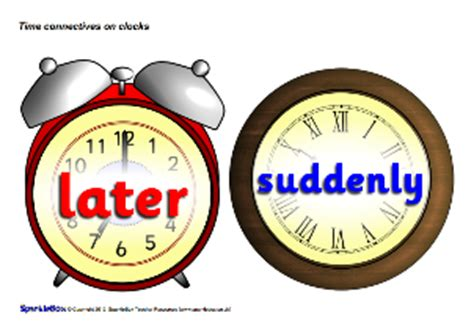 sen printable clocks ks1 ks2 connectives conjunctions and sentence openers
