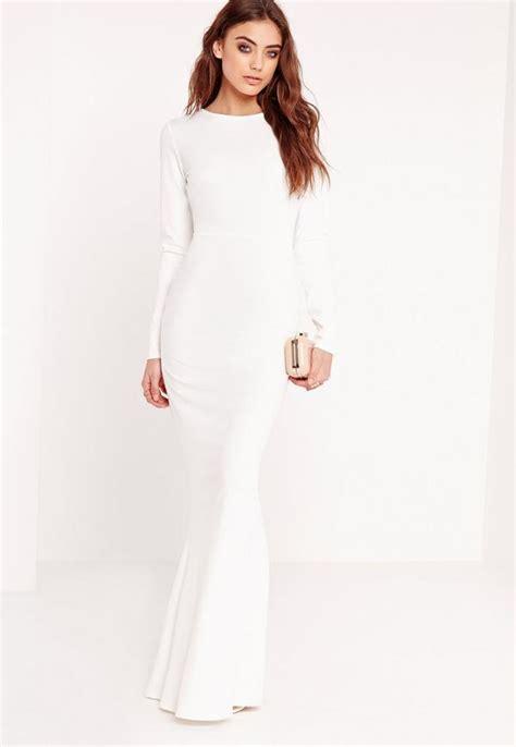 Longdress White sleeve open back maxi dress white missguided