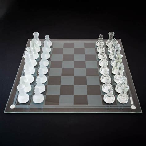 glass chess boards glass chess set medium size made entirely from glass menkind