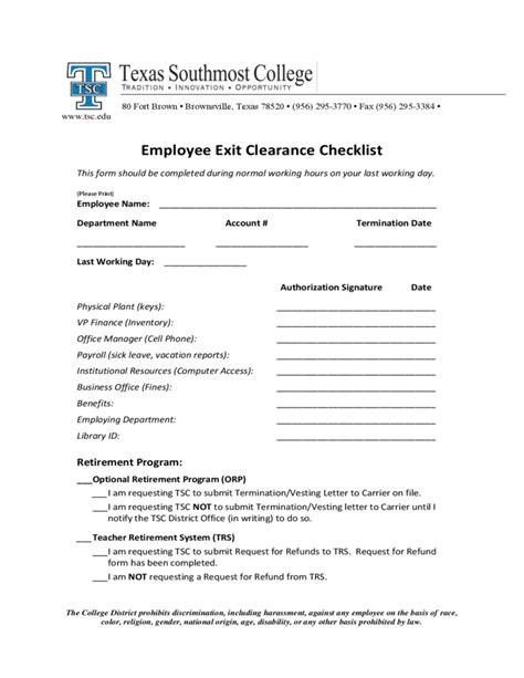 Lease Clearance Letter Employee Exit Clearance Checklist Form Southmost College Free