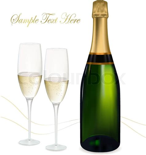 Home Decoration Birthday Party by Vector Illustration Two Glasses Of Champagne And Bottle