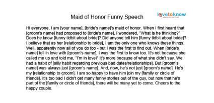 Free Maid of Honor Speeches   LoveToKnow