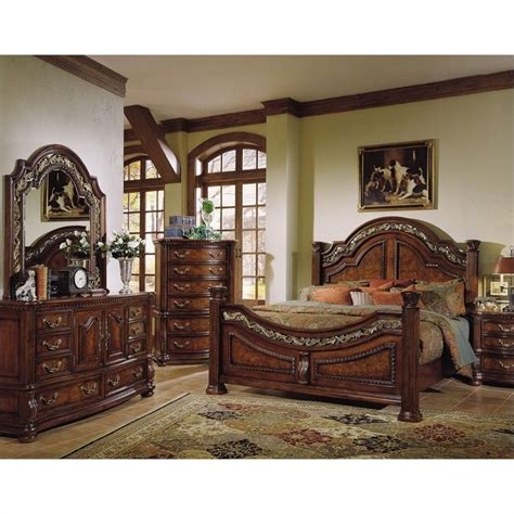 San Marino Bedroom Set | samuel lawrence san marino panel bedroom set in dark brown