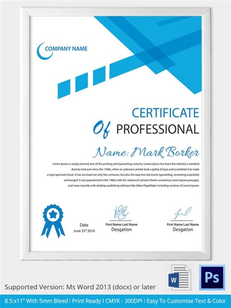 professional name card template 12 professional certificate templates free word format