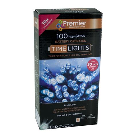 Premier 9 9m Length Of 100 Outdoor Blue Battery Operated Battery Powered Outdoor Lights With Timer