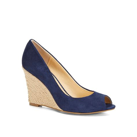 Peep Toe Wedges c peep toe suede espadrille wedge in blue navy