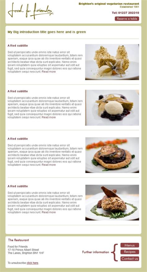 restaurant newsletter template brighton vegetarian restaurant food for friends needed an