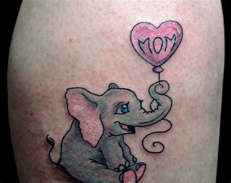 baby boy tattoos for moms balloon and baby elephant