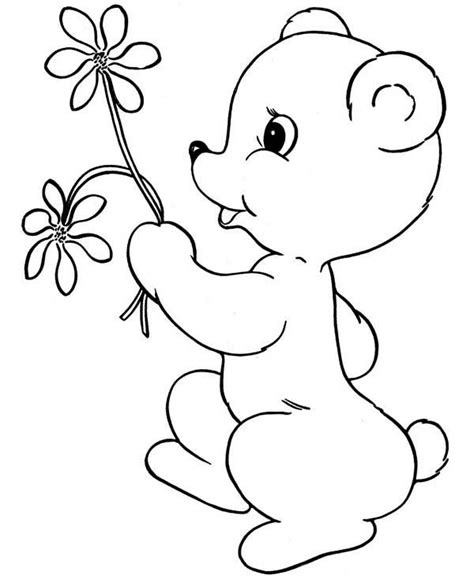 teddy bear with flower coloring page teddy bear with flower coloring sheets coloring pages