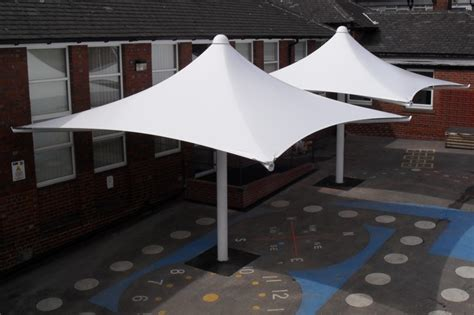 Umbrella Awning by Hucklow Primary School Sheffield Free Standing Umbrella