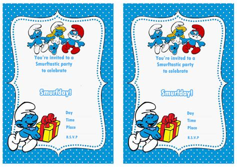 smurfs birthday invitations birthday printable