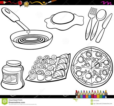 kitchen objects coloring pages food objects set coloring page stock vector image 53152283