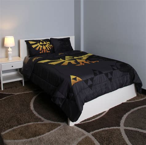 video game bed sheets legend of zelda hylian crest and triforce bed comforter