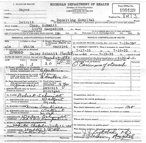 Birth Records Detroit Michigan Geneablogy A Weblog About Digging Up The Family Tree Genealogy