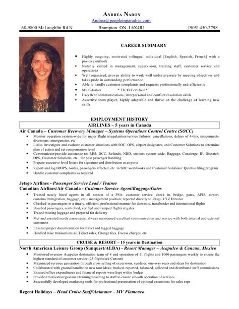 Air Canada Flight Attendant Sle Resume by Andrea Nadon