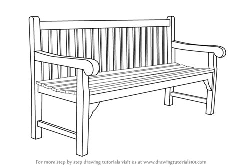 bench drawing learn how to draw a bench furniture step by step