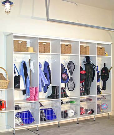 storage ideas for coats and shoes create a mud room in the garage