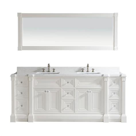 84 inch white finish sink bathroom vanity cabinet