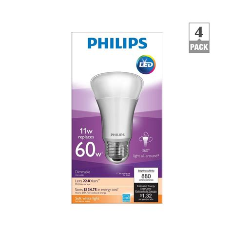 Philips Led 11 Watt philips 451922 11 watt a19 led household dimmable light