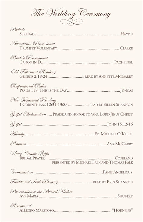 catholic ceremony program template clarnette s wedding reception table ideas the