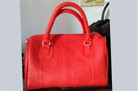 Tas Kulit Python 3 tas kulit aslired boston python bag tas kulit asli