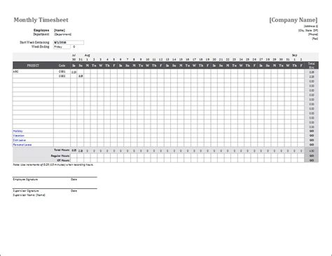 excel timesheet template multiple employees time spreadsheet free