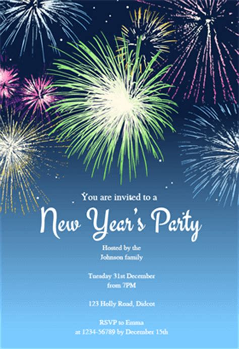 free new years invitation templates new years fireworks free printable new year