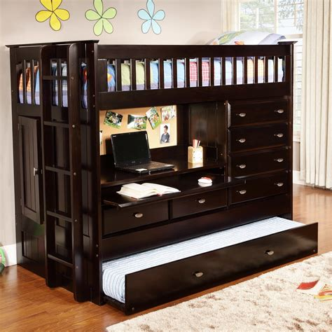 Bunk Bed With Storage And Desk Black Wooden Bunk Bed With Desk Combined With Many Storage Also Sliding Bed On The Bottom