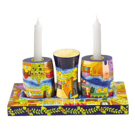 yair emanuel combination shabbat and havdalah set with jerusalem design