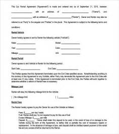 Car Rental Registration Form Vehicle Lease Agreement Templates 7 Free