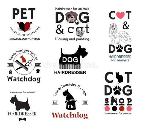 hairdresser retro design elements vector set hair salon for animals logo labels badges and design
