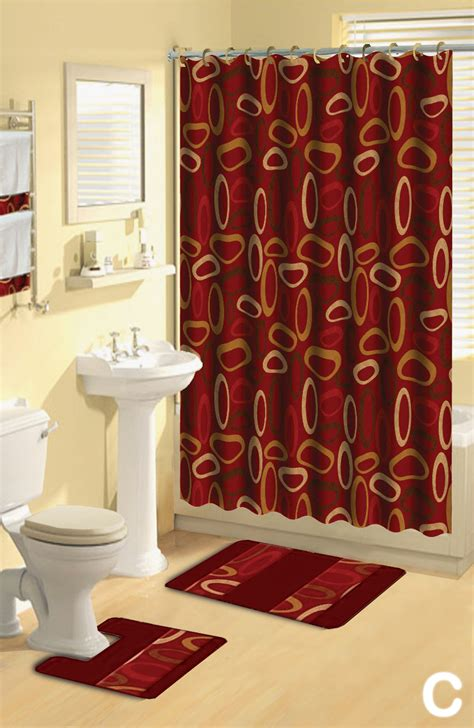 designer bathroom sets shower curtains 17 pcs set contemporary bath mat contour rug hooks towels ebay