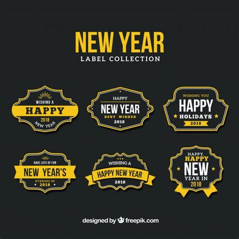 new year collection zalora new year label collection in black and yellow vector