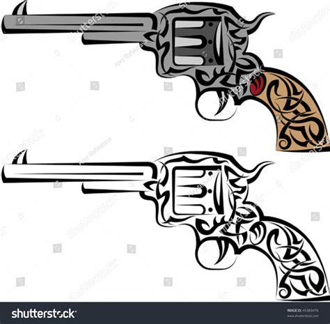 tattoo gun revolver tattoo gun revolver pistol stock vector illustration