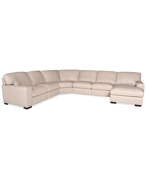 Macys Leather Sectional Sofa In Oyster Fabrizio Leather 6 Chaise Sectional Sofa Sectional Sofas Furniture Macy S