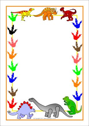 dinosaur writing paper dinosaur themed a4 page borders sb3978 sparklebox