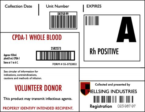 Blood Bag Label By Artema On Deviantart Donation Jar Label Template