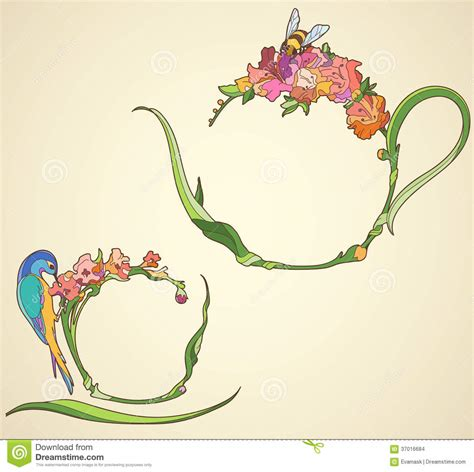 Fiori Coffee Set tea set with flowers in the nouveau style stock images